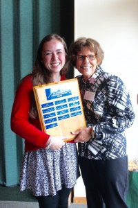 Nora (l) a former Tech Treker .and Martha Rees (r) show off the award plaque
