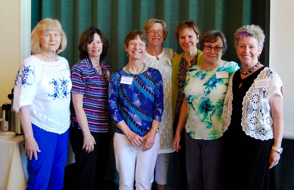 From L to Rt, Karen Tabjl, Secretary; Melanie Heckel, Co-VP Programs; Katherine (Bup) Greenwood, VP EOF; Laurie Alire, President; Cece Royal, VP Membership; Susan Frater, VP LAF and Virginia Horowitz, Treasurer