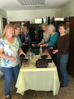 Gardeners sow seeds, from l to r, Jan Christensen, Barbara Collins, Jennifer Wilkerson, Deb Cubberley, Nancy Knaus, Teri McConnell.